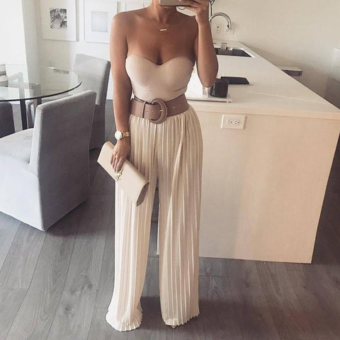 Casual Pure Color Show   Thin Wide Leg Pants