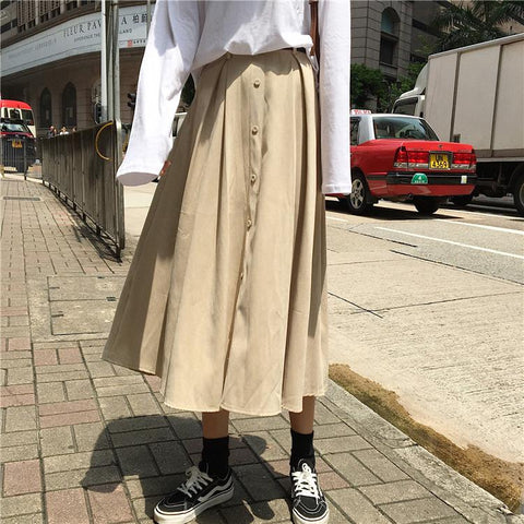 Pure Color High Waist   Leisure Long Skirt