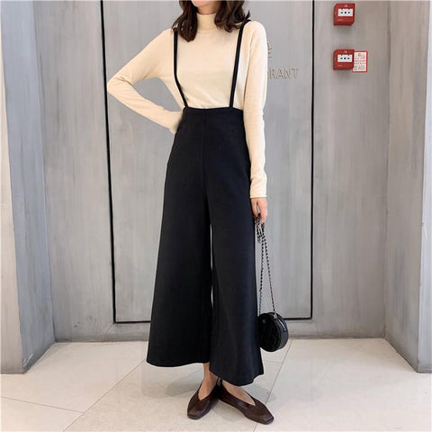 Loose Pure Color Strap   Broad Leg Trousers
