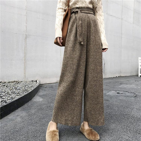 Loose Straight Tube   High Waist Thin Slacks