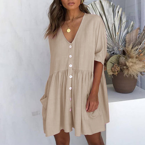 2019 Summer Solid Color Casual Loose Pockets Mini Dress