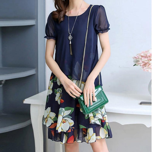 Casual Short Sleeve   Floral Print Chiffon Maxi Dresses