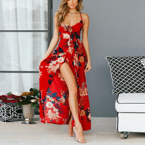 Casual Loose Sexy Deep  V Neck Backless Floral Print Sling Maxi Dresses