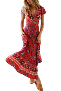 Casual Sexy V Neck   Bohemian Style Floral Print Maxi Dresses