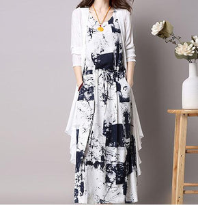 Casual Loose Plus Size Chinese Ink Printing Maxi Dresses With Cardigan Two Piece Suit