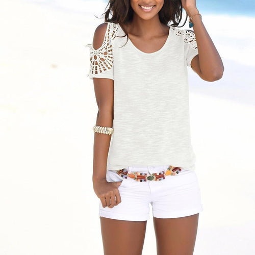Lace Patchwork Strapless T-Shirt