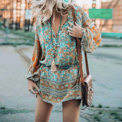 Casual Loose Sexy V   Neck Long Sleeve Floral Print Mini Dresses