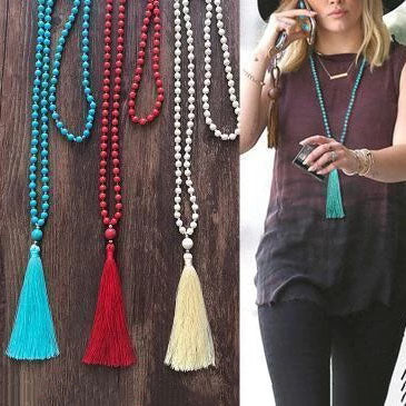 Koselip Woman Solid Color Tassel Long Necklace