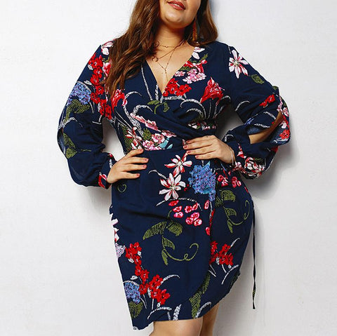 Casual Loose Plus Size   V Neck Floral Print Mini Dresses