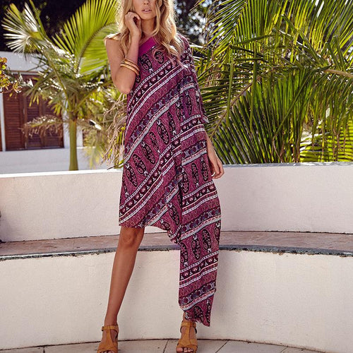Casual Sexy Off The   Shoulder Bohemian Style Printing Maxi Dress