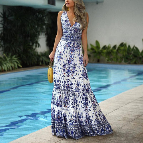 Elegant Printed V Neck Sleeveless Dress