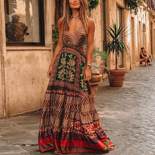 Bohemian V Neck Sleeveless Printed Dress