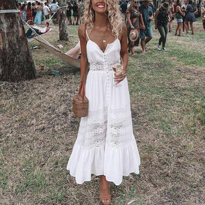 2019 Casual Sexy Backless Lace Splicing Sling Maxi Dresses