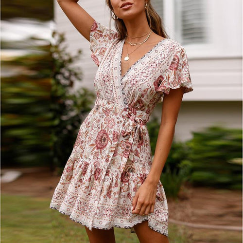 2019 Casual Sexy Deep V-Neck National Style Floral Print Mini Dresses