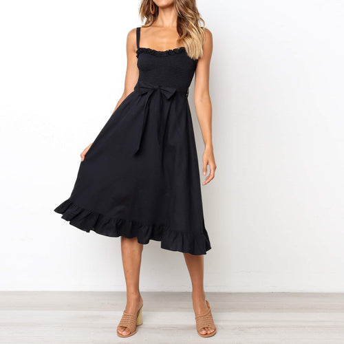 Majorgous Sexy Wrapped Chest Sling Strap Waist Bow Skater Dress
