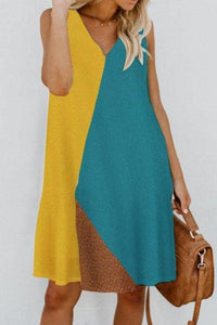 V Neck  Color Block  Sleeveless Casual Dresses