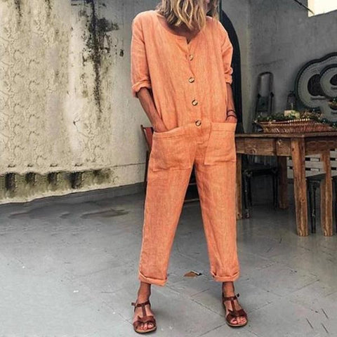 Women Fashion Solid Color Pocket Buckle Jumpsuit