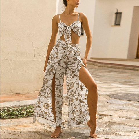 Casual Sexy Bare   Midriff Sling Tops With Slit Pants Print Two Piece Suit