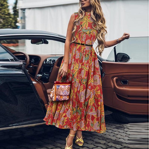 2019 Casual Sexy Sleeveless National Style Printing Maxi Dresses