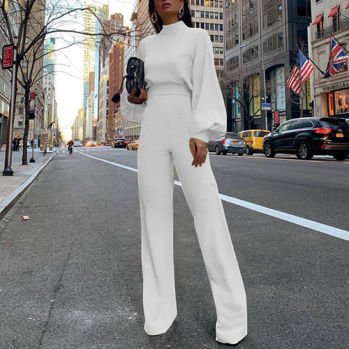 2019 Fashion Bishop Sleeve Pure Colour Half Collar Jumpsuits