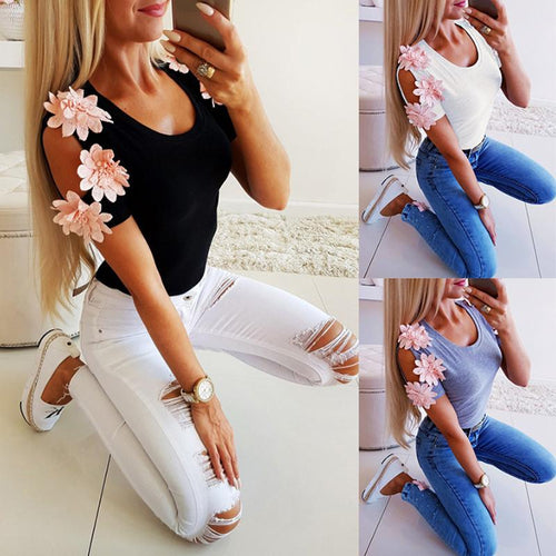 Fashion Sexy Solid Color Splicing Short Sleeves T-Shirt