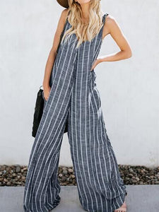 Elegant Sling Striped Sleeveless Broad Leg Jumpsuits