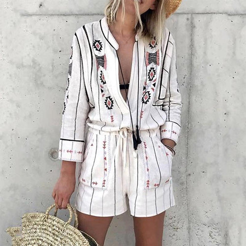 Fashion Turndown Collar Long Sleeve Loose Printed Colour Romper