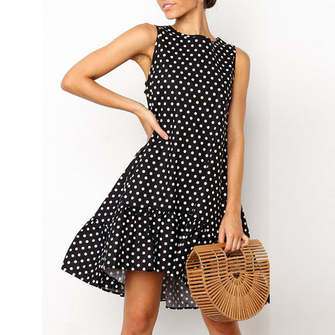 2019 Commuting Round Neck Polka Dot Ruffled Dress