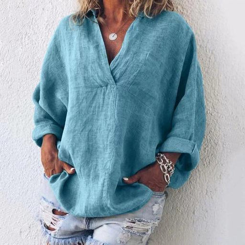 Linen Plus Size Long Sleeve V Neck Women Blouses & Shirt