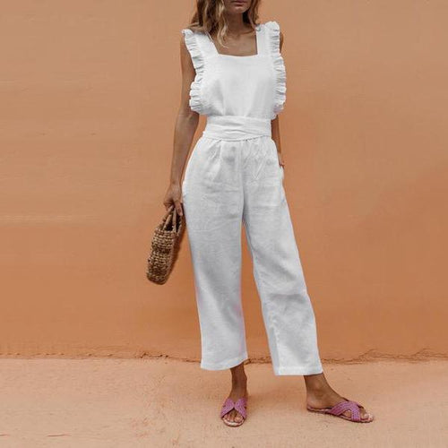 Ruffled Backless Sexy Linen Jumpsuit