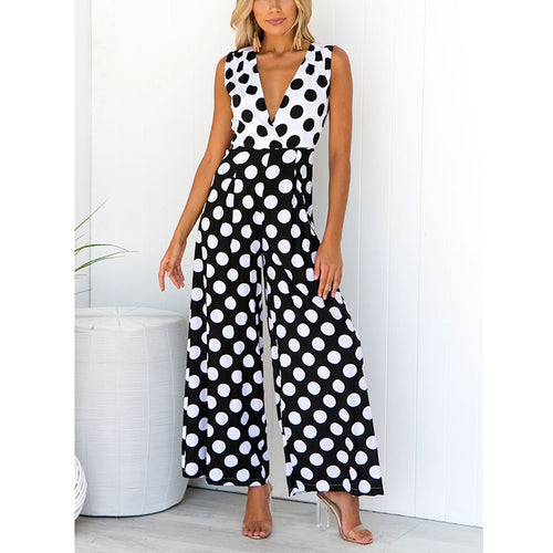 Sexy V-Neck Sleeveless Wave Point Jumpsuit