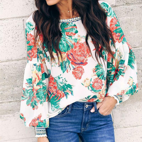 Sexy Round Neck Printed Long Sleeves T-Shirt