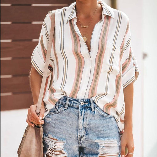 Stylish Sexy Lapel Stripe Short Sleeve Shirt