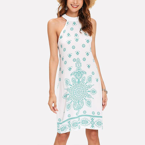 Stylish Sexy Vintage Print Sleeveless Dress