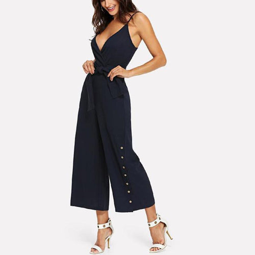 Sexy Solid Color Sling V-Neck Jumpsuit
