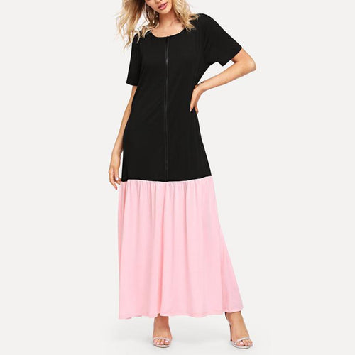 Fashion Round Collar Short Sleeve Splicing Dress