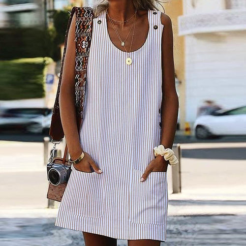 Sexy Stripe Sleeveless Round Collar Dress
