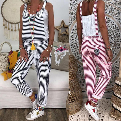 Women Casual Striped Wild Jumpsuit
