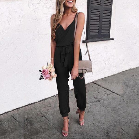 Women V Neck Pure Color Suspenders Sling Casual Jumpsuits