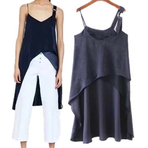Sexy Solid Color Asymmetry Sling Top