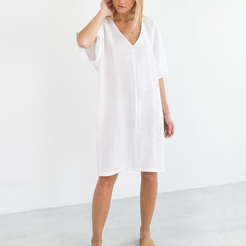 Fashion Sexy Solid Color V Neck Short Sleeve Dress