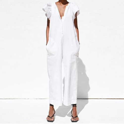 Women V Neck Ruffled Short Sleeves Pocket Cool Girl Jumpsuit