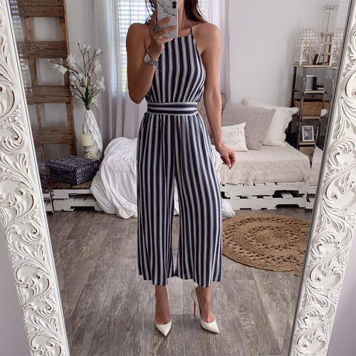Sexy Backless Striped Sling Jumpsuit