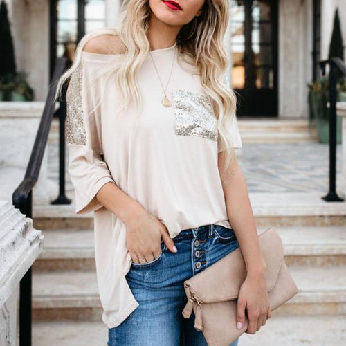 Sexy Solid Color Off-The-Shoulder Short Sleeve Sequins T-Shirt