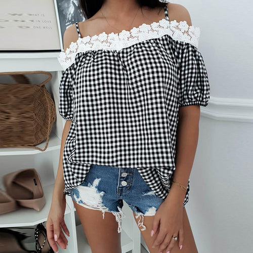 Sexy One Word Shoulder Check Sling Shirt