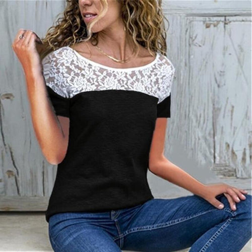 Sexy Solid Color Round Collar Lace Splicing Short Sleeve T-Shirt