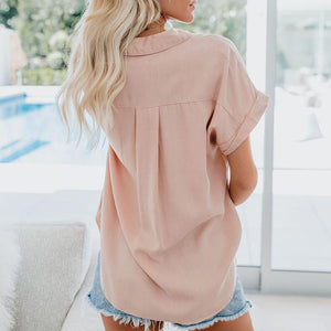 Stylish Sexy Solid Color Lapel Short Sleeve Shirt