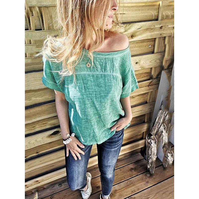 Sexy Solid Color Round Collar Bare Shoulders T-Shirt
