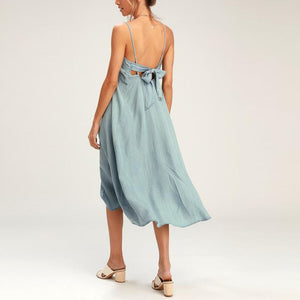 Sexy Solid Color Sleeveless Sling Backless Dress