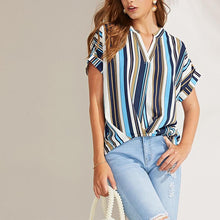 Sexy Striped Chiffon Short Sleeves V-Neck Shirt